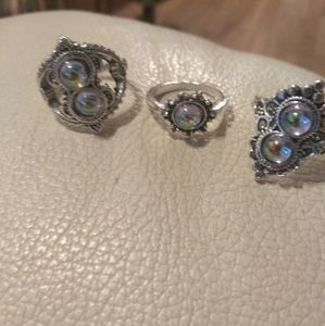 3 Beautiful Sterling Silver Rings size 7